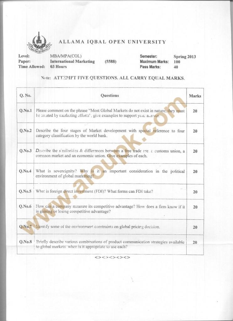 code no 5588 AIOU Old Paper International Marketing