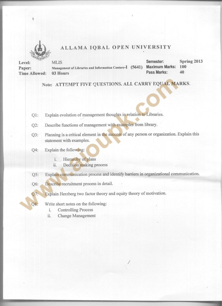 Code 5641 AIOU Old Paper Management of Libraries and Information Centers-I  Spring 2013