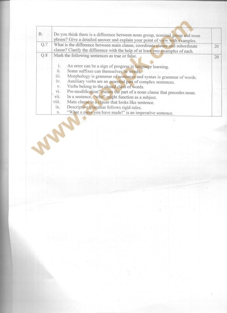 Grammar Code 5657 a AIOU Old Paper Spring 2013 Diploma