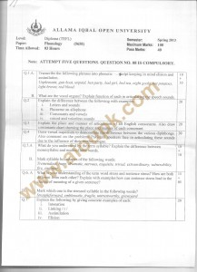 Code 5658 AIOU Old Paper Phonology Spring 2013 DIPLOMA TEFL