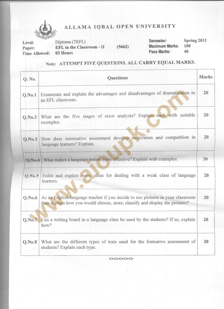Classroom (Part-II) Code No 5662 AIOU Old Papers Spring 2013 diploma