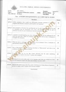 Code No 5666 AIOU Old Paper Semantics & Discourse Analysis Spring 2013