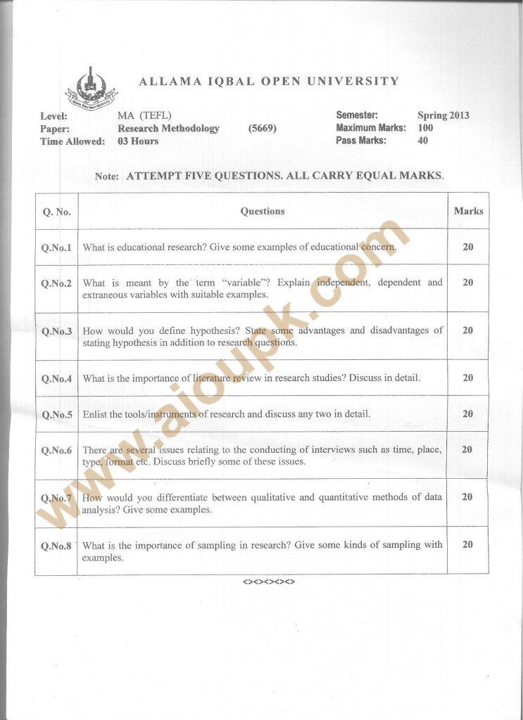 Code no 5669 AIOU Old Paper Spring 2013 Research Methodology