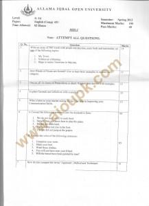 English Compulsory Code No 651 B.Ed Spring 2013