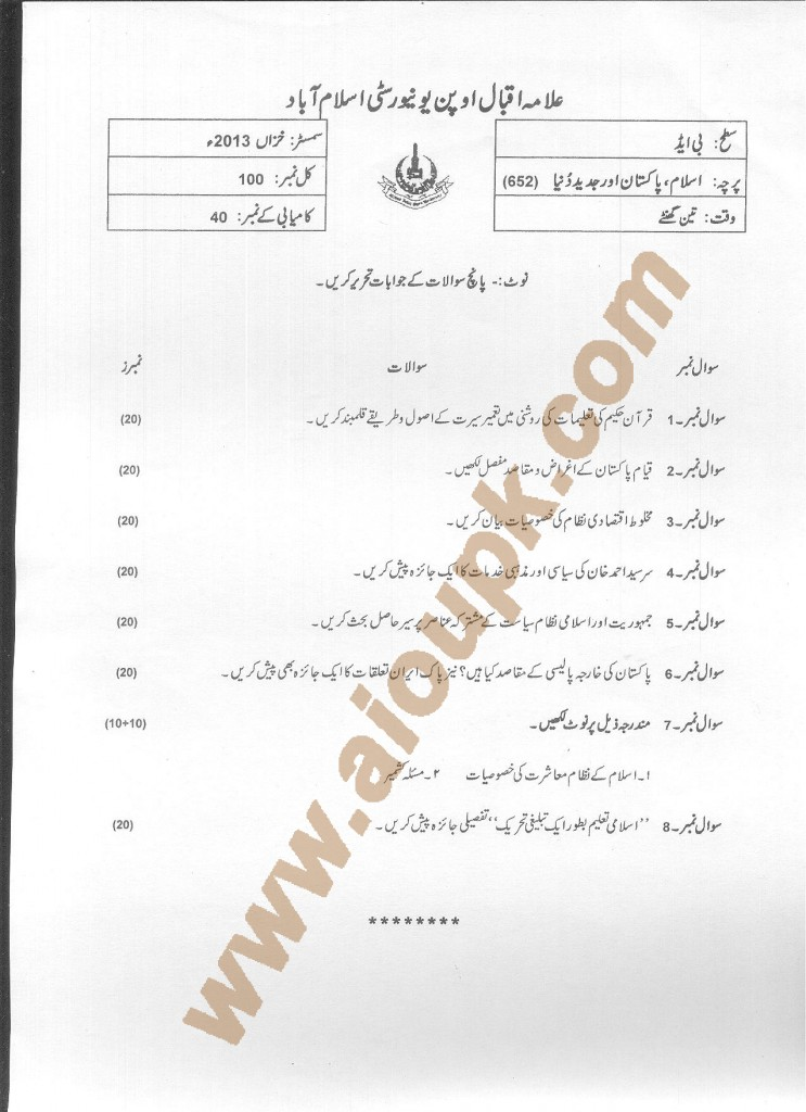 Islam, Pakistan and Modern World Code 652 Old paper of AIOU