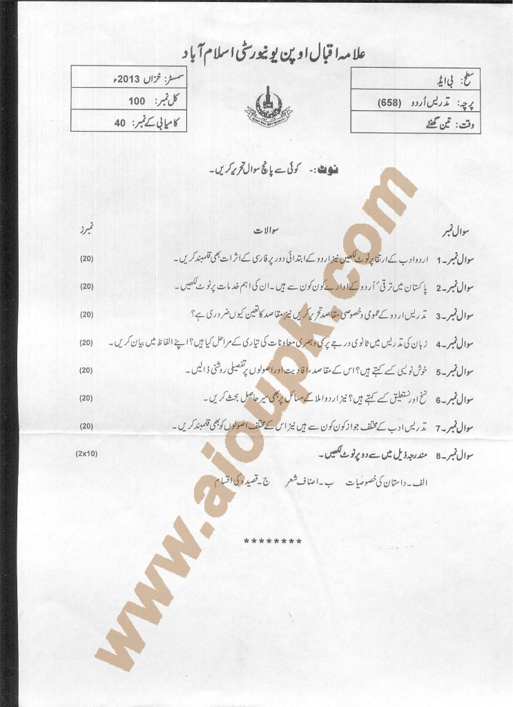 Teaching of Urdu Code 658 AIOU Old Papers