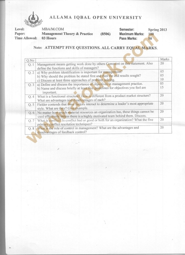 Code 8506 AIOU Old paper Management Theory and Practice 2013