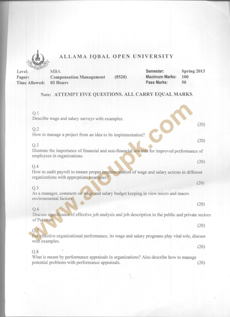 Code 8520 AIOU Old Paper Compensation Management