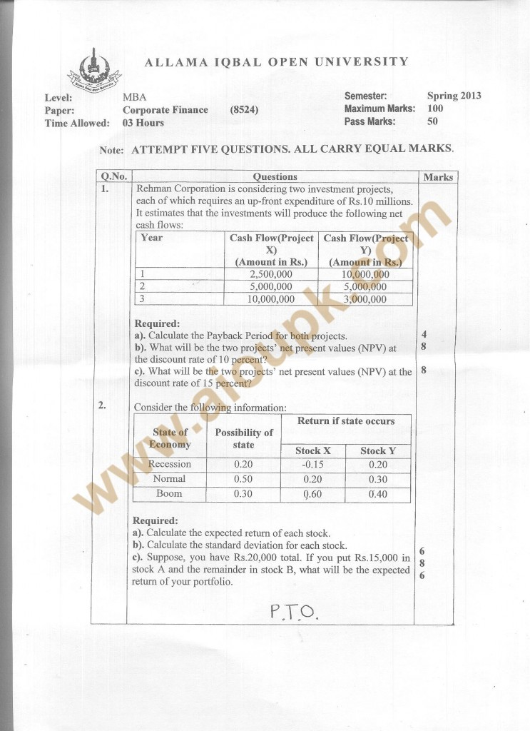 Code 8524 a AIOU Old Paper Corporate Finance