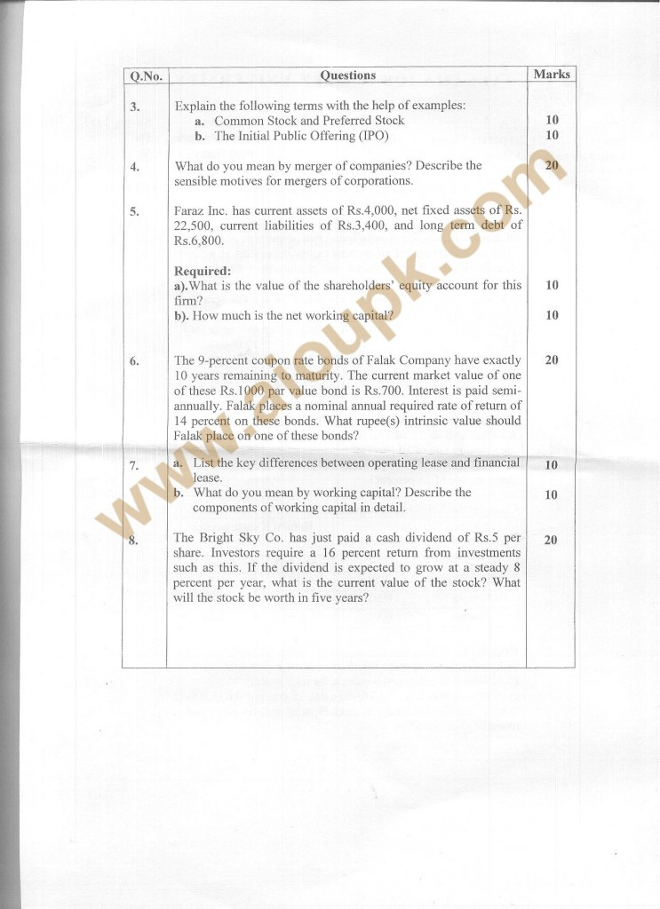 Code 8524 a AIOU Old Paper Corporate Finance Side B