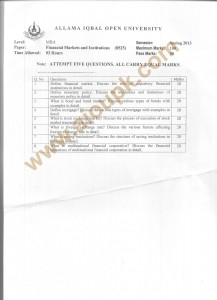 code 8525 AIOU Old Papers FINANCIAL MARKETS AND INSTITUTIONS