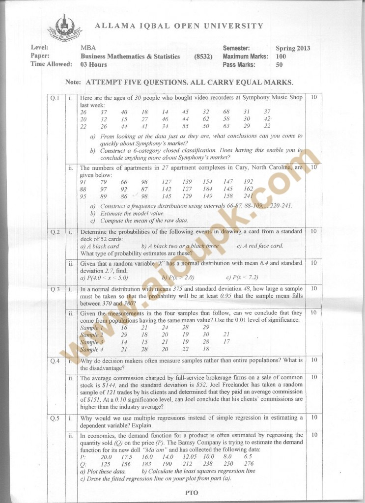 Code 8532 a AIOU Old Paper  Business Mathematics & Statistics