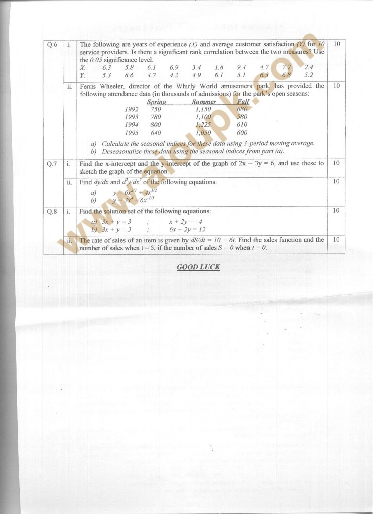 Code 8532 a AIOU Old Paper  Business Mathematics & Statistics  Side B