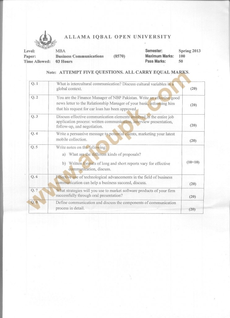 Code 8570 AIOU Old Paper Business Communication Spring 2013