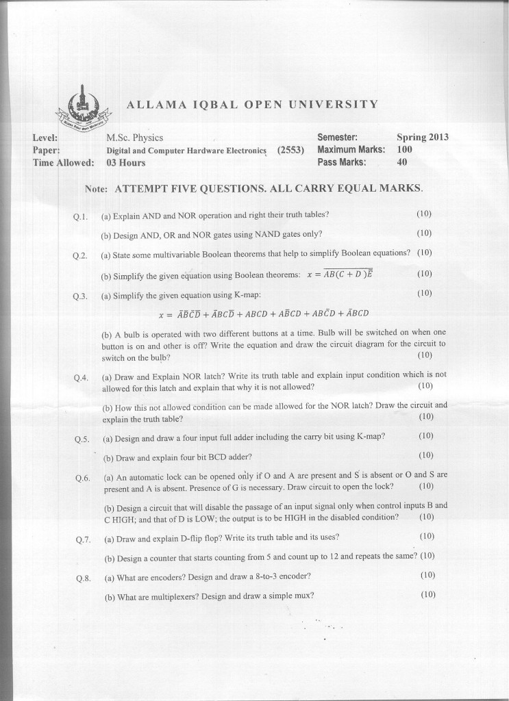 Code 2553 AIOU Old Paper Spring 2013 Digital and Computer Hardware