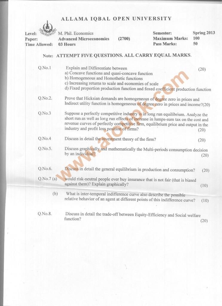 Code 2700 AIOU Old Paper Advance Microeconomics