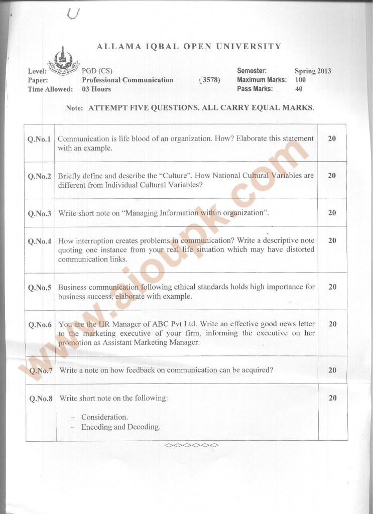 Code 3578 AIOU Old Paper Professional Communication