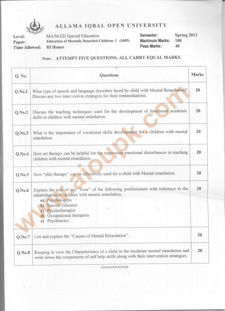 Code 3605 AIOU Old Paper Education of Mentally Retarded Children-I