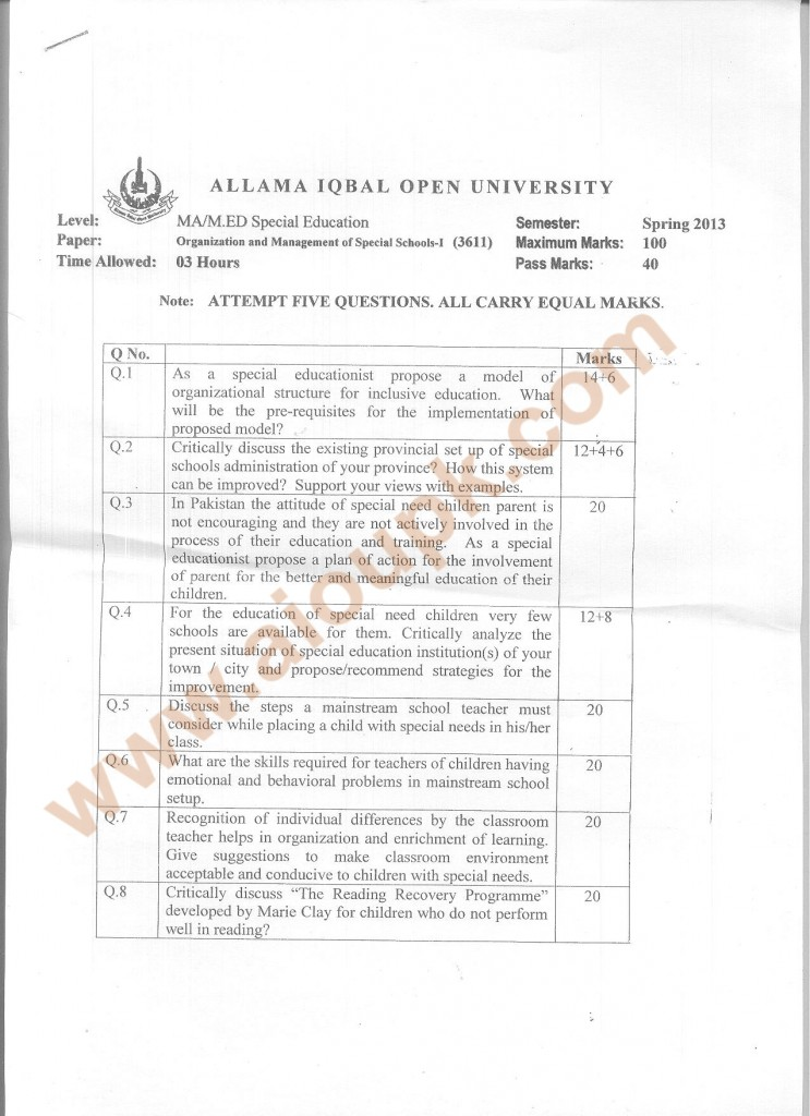 Code 3611 AIOU Old Paper Organization and Management of Special Schools Part-I