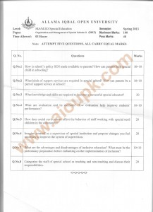 Code 3612 AIOU Old Paper course Organization and Management of Special Schools Part-II