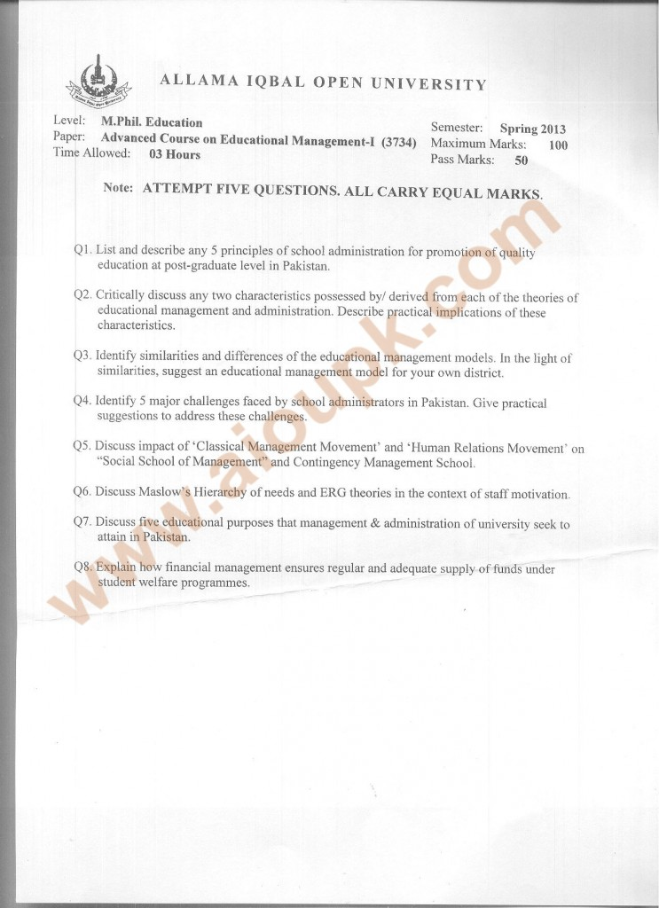 Code 3734 AIOU Old Paper Advanced Course on Educational Management-I  Spring 2013