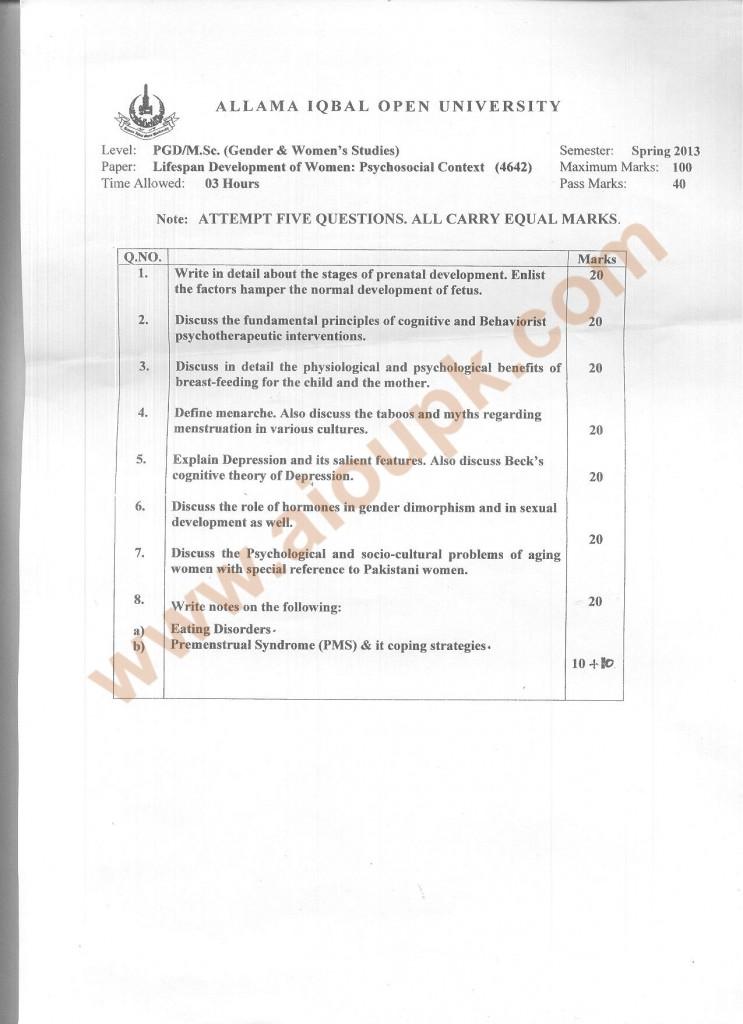 Code 4642 AIOU Old Paper Lifespan Development of Women