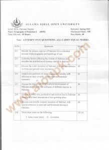 Code 4655 AIOU Old Paper Geography of Pakistan Part-I