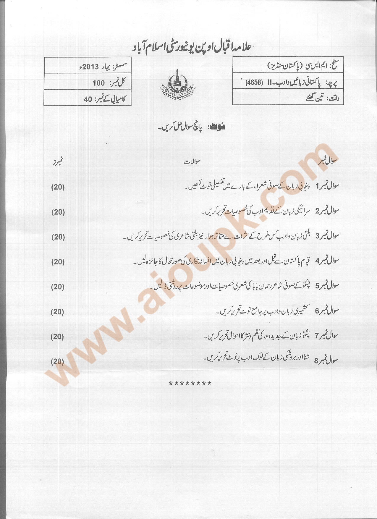 Pakistani Languages Amp Literature Ii Code 4658 M Sc Aiou