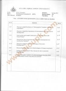 Code 4672 AIOU Old Paper Development Economics Part-II Spring 2013