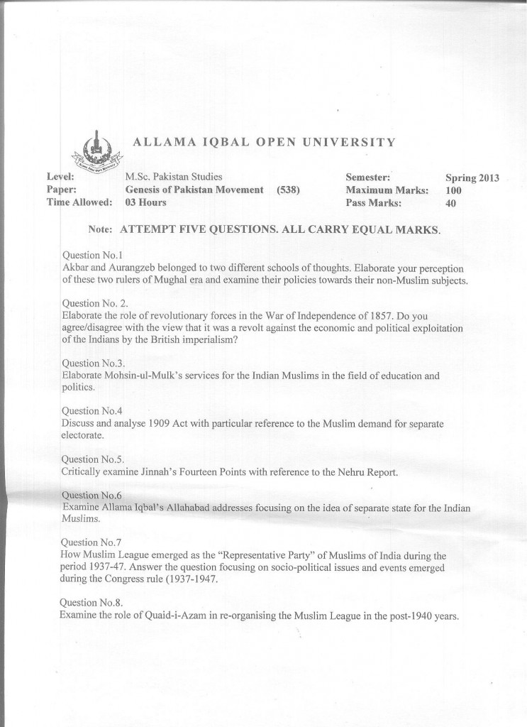 Code 538 AIOU Old Paper Genesis of Pakistan Movement Spring 2013