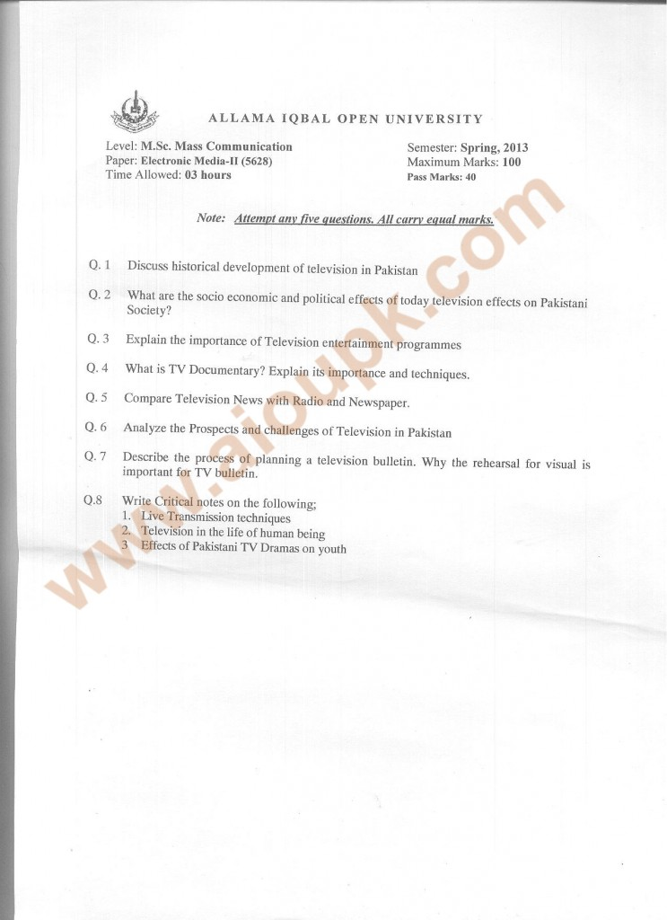 Code No 5628 AIOU Old Paper Electronic Media-II  Spring 2013