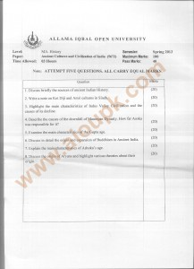 Code 5672 Ancient Cultures and Civilization of India AIOU Old Paper