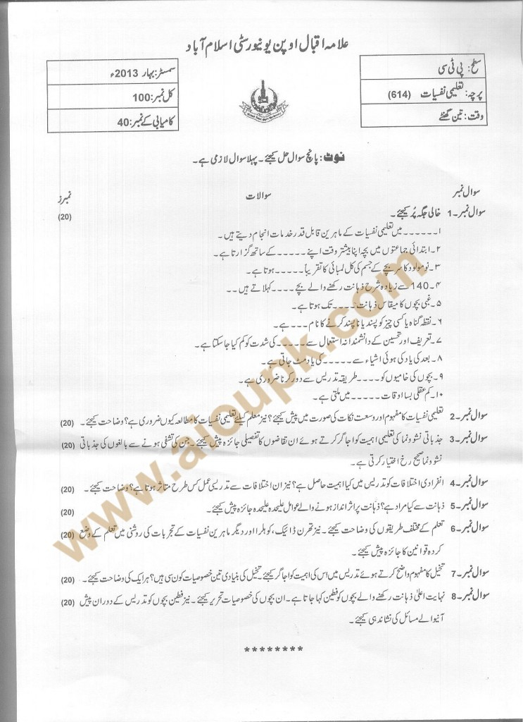 Code 614 AIOU Old Paper Educational Psychology