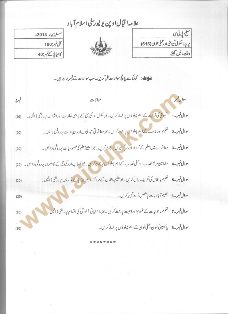 Code 616 AIOU Old Papers School Community and Practical Arts Spring 2013