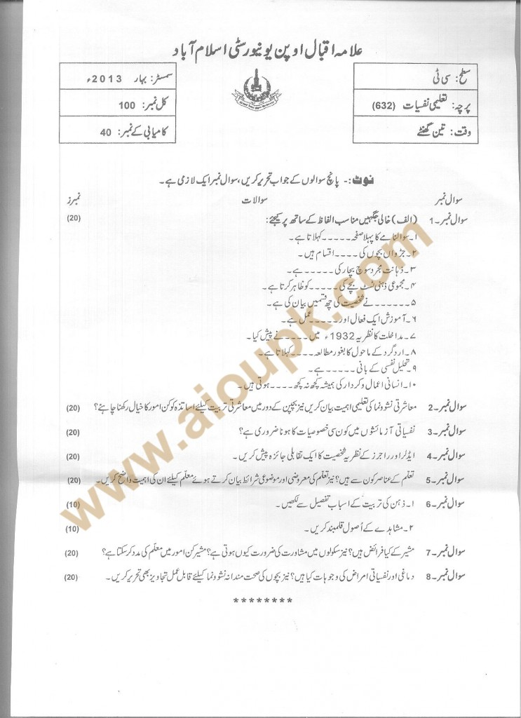 Code 632 AIOU old paper Educational Psychology