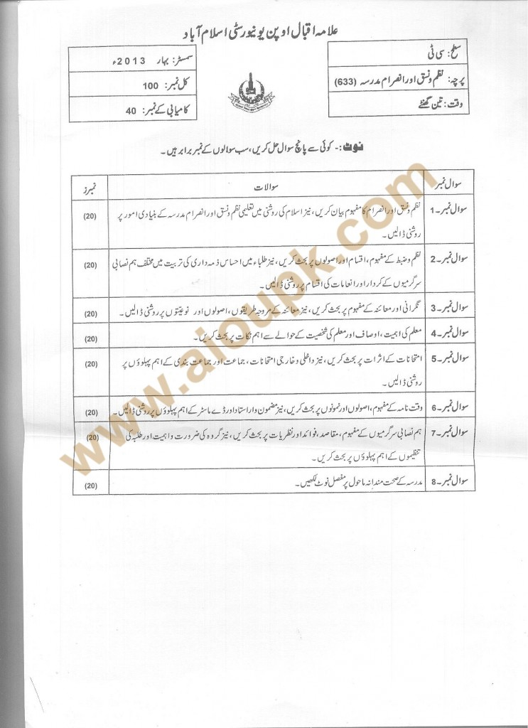 Code 633 School Organization and Management AIOU Old Paper