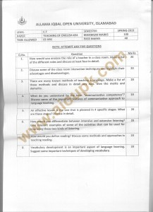 Code 634 AIOU Old Paper Teaching of English Spring 2013