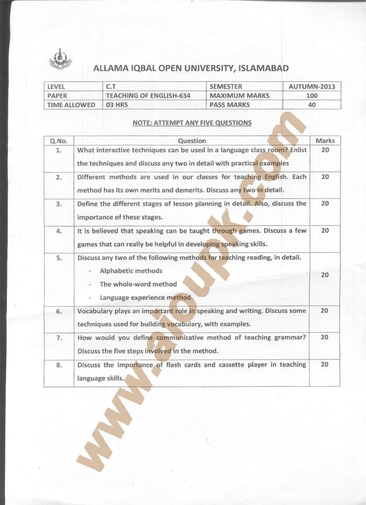 Teaching of English AIOU Old paper Code 634