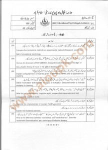 Code 6501 Educational Psychology & Guidance AIOU Old paper spring 2013