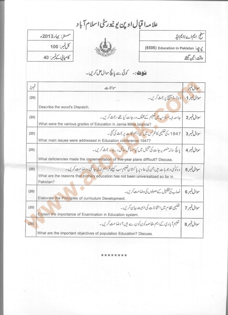 Code 6506 Education in Pakistan AIOU Old Paper
