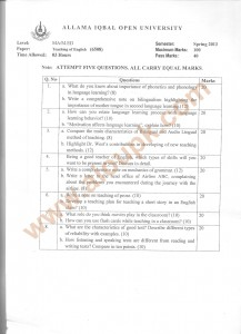 Code 6508 Teaching of English M.Ed AIOU Old Paper spring 2013