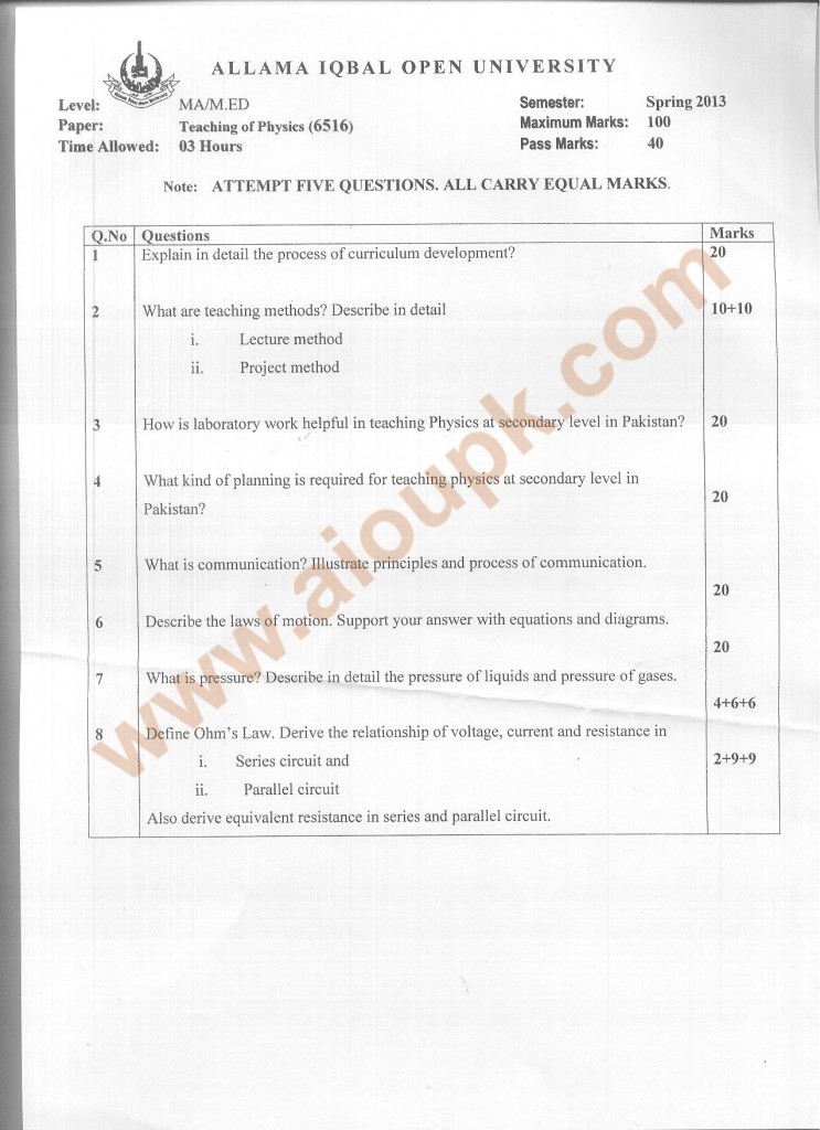 Code 6516 AIOU Past paper Teaching of Physics (Masters) Spring 2013