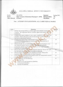 Code 6558 - Basic Concepts of Educational Planning Part 2 AIOU Old Paper Spring 2013