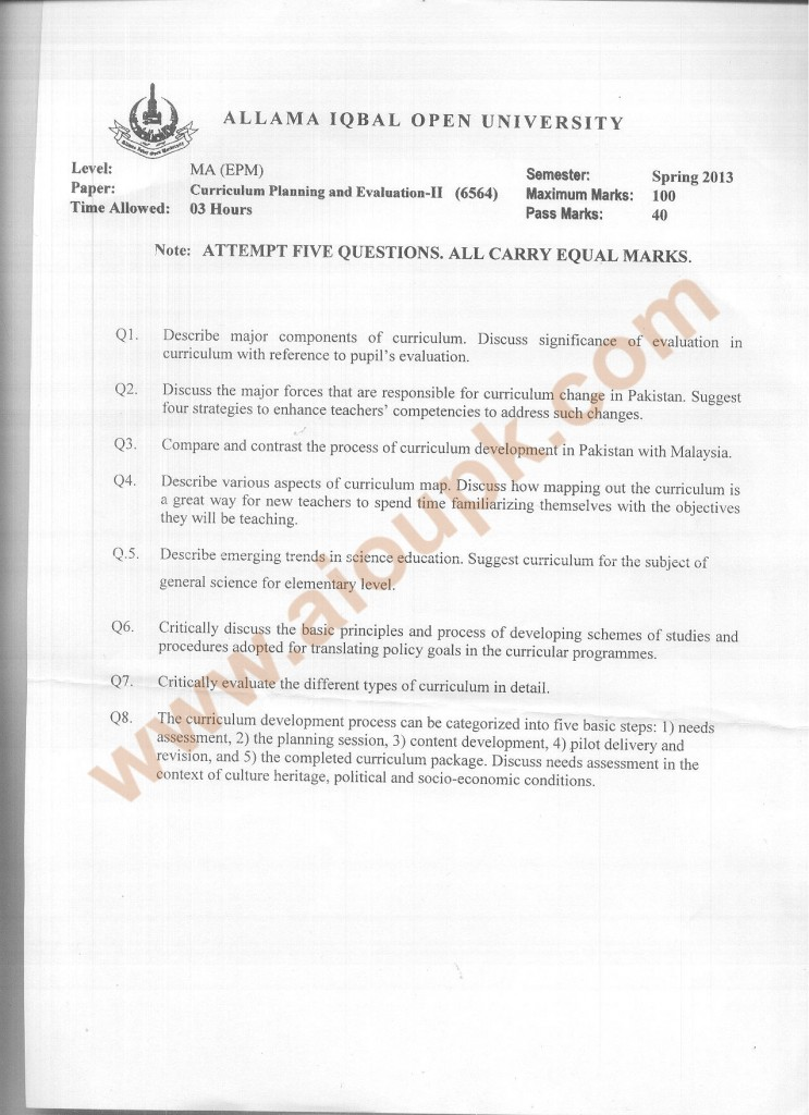 Code 6564 Curriculum Planning and Evaluation Part 2 AIOU Old Paper