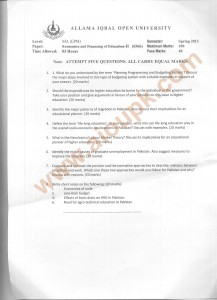 Code no 6566 Economics and Financing of Education Part 2 AIOU Old Paper Spring 2013 semester