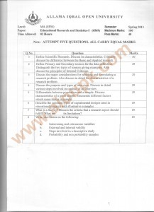 Code 6569 Educational Research and Statistics AIOU Old Paper