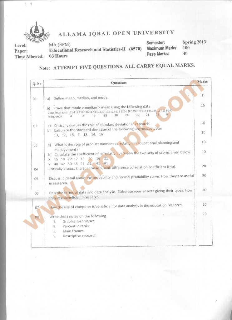 Code 6570 Educational Research and Statistics Part 2 AIOU Old Paper Spring 2014