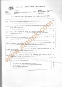 Code 6573 Planning for Population Education AIOU Old Paper