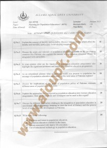 AIOU Old Paper Code 6573 Planning for Population Education 2014