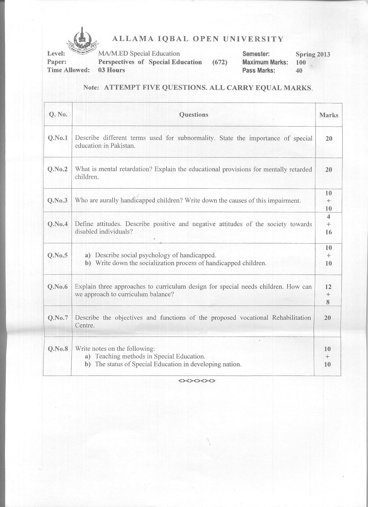 Special education thesis papers